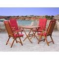 Grasekamp Gartenmöbelgruppe Santos Rubin 9tlg mit  Tisch 80x80cm Balkonmöbel Essgruppe Natur/Rubinrot