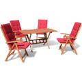 Grasekamp Gartenmöbel Cuba Rot 9tlg mit  Klapptisch 140 cm Terrassenmöbel  Balkonmöbel Rot