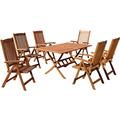 Grasekamp Gartenmöbelgruppe Cuba 7 teilig  Holz Sitzgruppe Essgruppe Natur