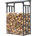 Grasekamp Kaminholzunterstand 130 x 60 x 203 cm  Kaminholz Regal Kamin Holzofen Aussen  Doppelstegplatten Stapelhilfe Grau