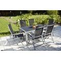 Greemotion Gartentischgruppe Monza 7 tlg. II silber/schwarz/Spraystone