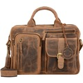 Greenburry Vintage Aktentasche Leder 33 cm Laptopfach brown