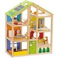 Hape Happy Family Vier-Jahreszeiten Haus möbliert + Puppenfamilie