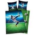 Herding Fußball Renforcé Bettwäsche, 135x200 cm blau/grün