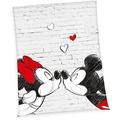 Herding Mickey & Minnie Microfaserflauschdecke, 150x200 cm grau