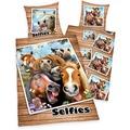"""Herding Selfies """"Pferde"""" Renforcé Bettwäsche, 135x200 cm"""