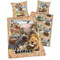 """Herding Selfies """"Zootiere"""" Renforcé Bettwäsche, 135x200 cm"""