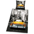 Herding Young Collection NY Taxi No 1 Bettwäsche 135x200cm + 80x80cm grau