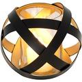 Holländer Windlicht LA RETE MITTEL Metall schwarz - innen gold - Glas