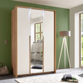 IMV Kleiderschrank Skye III m. Passepartout/Beleuchtung, weißbraun mit Spiegel