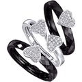 Jacques Lemans Ring 925/- Sterling Silber rhodiniert schwarz 10505 54 (17,2)