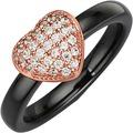 Jacques Lemans Ring 925/- Sterling Silber rotvergoldet schwarz 10457 54 (17,2)