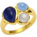 Jamelli Ring 925/- Sterling Silber Quarz (beh.) Mondstein gelb 10179 52 (16,6)