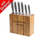 Jamie Oliver Messerblock MIT GRAVUR (z.B. Namen) mit Küchenmessern 6-teilig Akazienholz