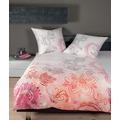 Janine Bettwäsche-Garnitur Mako-Satin pink living coral silber 135x200, 80x80