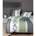 Janine Bettwäsche-Garnitur Mako-Soft-Seersucker silber grün 135x200, 80x80