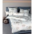 Janine Bettwäsche Interlock-Jersey taupe mineralblau Bettwäsche 135X200,Kissenbezug 80x80