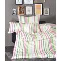 Janine Bettwäsche Mako-Satin Messina magenta grün gestreift Bettbezug 135x200, Kissenbezug 80x80cm