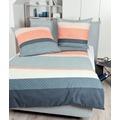 Janine Feinbieber Davos vintage blau koralle Bettwäsche 135x200,Kissenbezug 80x80