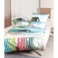 Janine Mako-Satin modern art aqua blau grün rot Bettbezug 135x200, 80x80