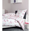 Janine Mako-Soft-Seersucker TANGO rosa Schmetterlinge Bettbezug 135x200, Kissenbezug 80x80cm