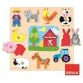 Jumbo Spiele Goula D53025 - Holzpuzzle Silhouetten Bauernhof, 12-teilig