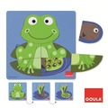Jumbo Spiele Goula D53122 - Holzpuzzle 3 Stufen Frosch, 8-teilig