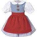 Käthe Kruse Puppenbekleidung Dirndl karo, Schürze rot 39-41 cm