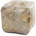 Kayoom Lavish Lederpouf 210 Elfenbein / Gold 45 x 45 cm