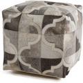 Kayoom Lavish Lederpouf 310 Grau / Silber 45 x 45 cm
