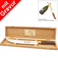 Laguiole Champagnersäbel MIT GRAVUR (z.B. Namen) in edler Holzbox, Länge 42cm