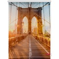 Lichtblick Rollo Klemmfix, ohne Bohren, blickdicht, Brooklyn Bridge - Orange Breite: 100 cm