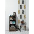 Livingwalls selbstklebendes Panel Pop.up Panel 3D weiß schwarz goldfarben 2,50 m x 0,52 m