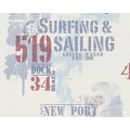 "Livingwalls Surfing & Sailing hochwertige Mustertapete ""New Port"", Tapete, maritim, blau, rot, weiss"