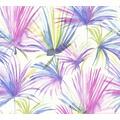 Livingwalls Vliestapete Colibri Tapete mit Palmenprint in Dschungel Optik weiß gelb lila 366243 10,05 m x 0,53 m