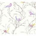 Livingwalls Vliestapete Colibri Tapete mit Vögeln weiß braun lila 366232 10,05 m x 0,53 m