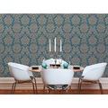 Livingwalls Vliestapete mit Glitter Metropolitan Stories Lizzy London Tapete mit Ornamenten barock beige blau metallic 368985 10,05 m x 0,53 m