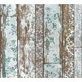 Livingwalls Vliestapete Neue Bude 2.0 Tapete in Vintage Holz Optik braun blau grün 361193 10,05 m x 0,53 m