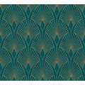 Livingwalls Vliestapete New Walls Tapete 50's Glam Art Deco Optik metallic blau grün 374275 10,05 m x 0,53 m