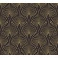 Livingwalls Vliestapete New Walls Tapete 50's Glam Art Deco Optik metallic schwarz 374273 10,05 m x 0,53 m