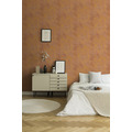 Livingwalls Vliestapete New Walls Tapete Urban Grace Vintage Uni Optik braun orange metallic 374253 10,05 m x 0,53 m