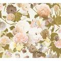 Livingwalls Vliestapete Paradise Garden Tapete mit Rosen floral creme grün gelb 367172 10,05 m x 0,53 m