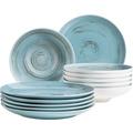 Mäser Derby, Premium Tafelservice für 6 Personen in Gastronomie-Qualität, 12-teiliges modernes Teller Set mit Handpinseleffekt, Blau, Durable Porzellan
