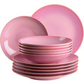 Mäser Ossia, Teller-Set für 6 Personen im mediterranen Vintage-Look, 12-teiliges modernes Tafelservice mit Suppentellern und Speisetellern in Pink, Keramik