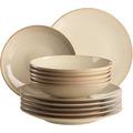 Mäser Ossia, Teller-Set für 6 Personen im mediterranen Vintage-Look, 12-teiliges modernes Tafelservice mit Suppentellern und Speisetellern in sandigem Grau, Keramik
