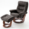 MCA furniture Samone Relaxsessel XL mit Hocker, schwarzbraun/walnuss