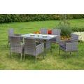 merxx 13tlg. Set Gran Canaria, 6x Sessel inkl. Sitzkissen, 1 Tisch, 140 x 80 cm, Glasplatte, graues Geflecht, graue Kissen
