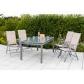 merxx 5tlg. Amalfi Set, 4 Amalfi Klappsessel, 5-fach verstellbar, 1 Tisch, 150 x 90 cm, schwebende Platte, silber/grau, champagner