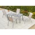 merxx Amalfi Set 5tlg., Stapelsessel & rechteckiger Tisch, champanger