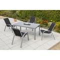merxx Amalfi Set 5tlg., Stapelsessel & rechteckiger Tisch, schwarz Gartenmöbelset